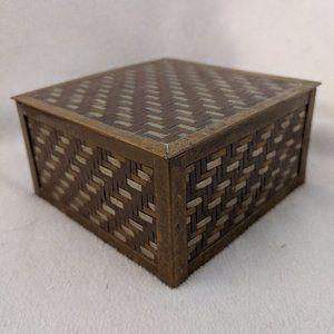 Woven Metal Trinket Dresser Box Vintage Brass
